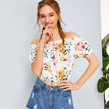 Floral Print Tie Neck Off Shoulder Blouse