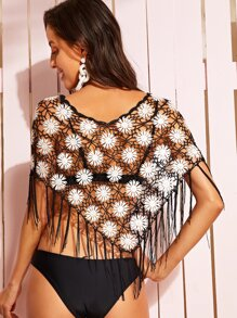 dcfe5b169a1c5 Two Tone Fringe Hem Crochet Cover Up Without Lingerie | SHEIN UK