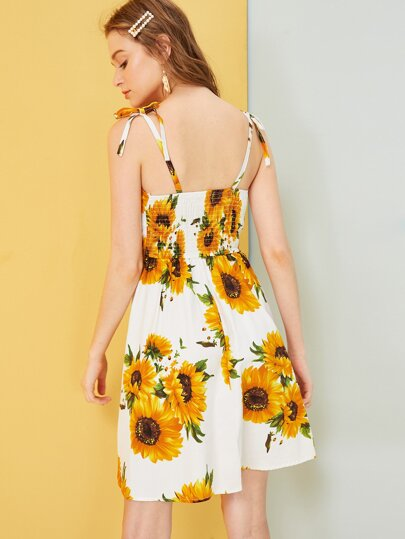 b866d2957919 Home · Clothing · Dresses; Sunflower Print Shirred Cami Dress
