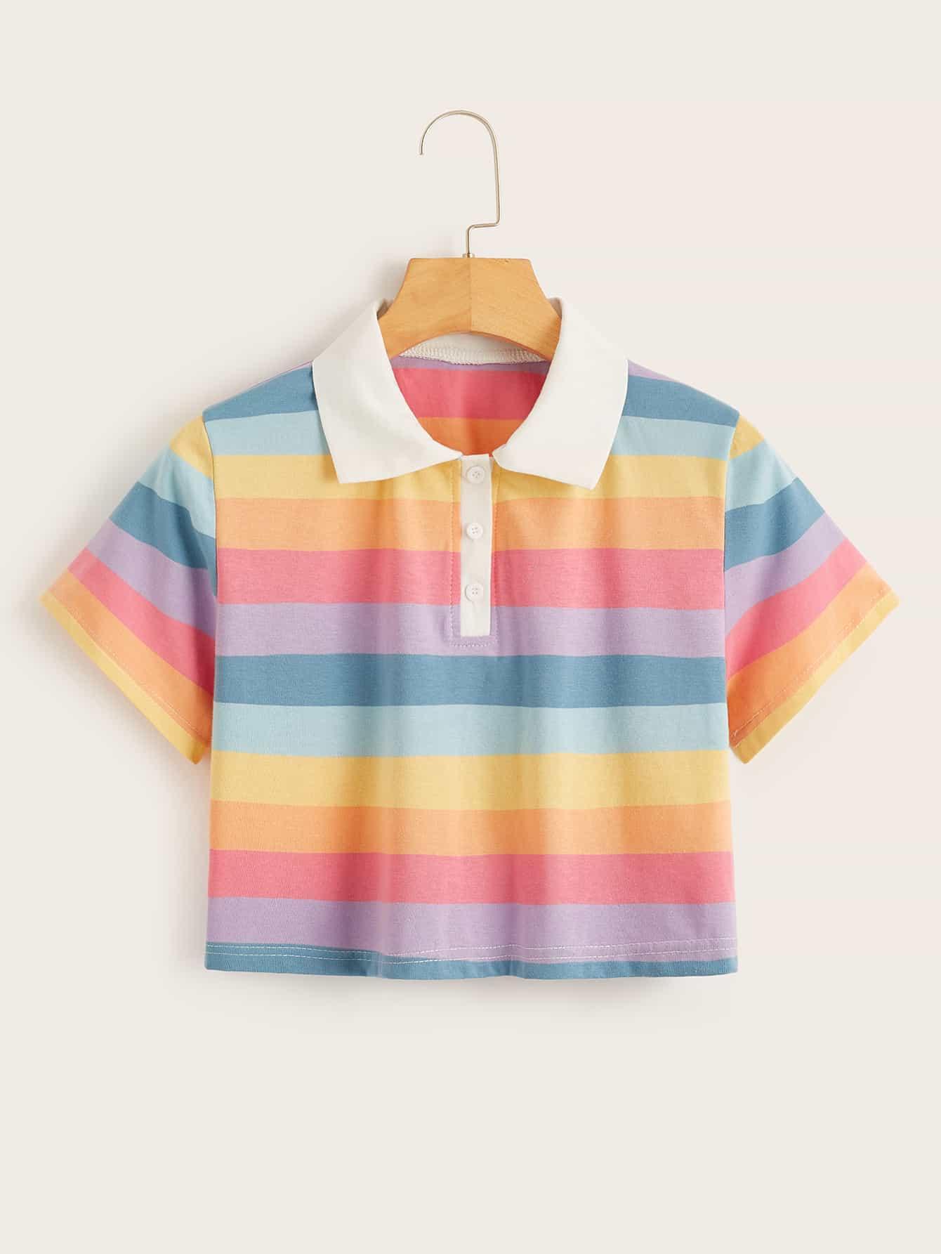 Rainbow Stripe Crop Polo Tee by Romwe