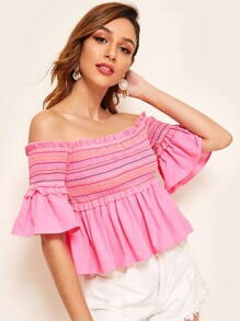 Frill Trim Stripe Shirred Peplum Bardot Top