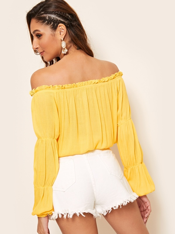 a9a827ca62d Embroidered Floral Frill Trim Bardot Top | SHEIN