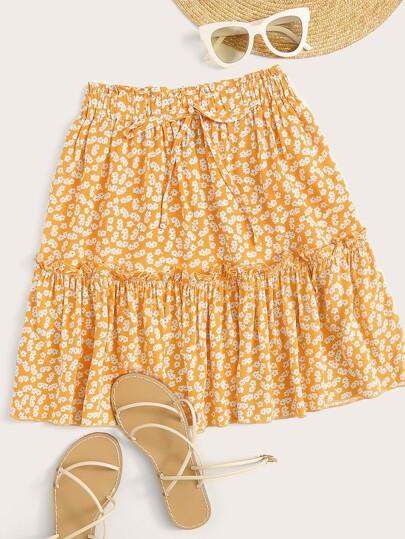 9d36169da7 Ditsy Floral Print Tie Front Frilled Skirt