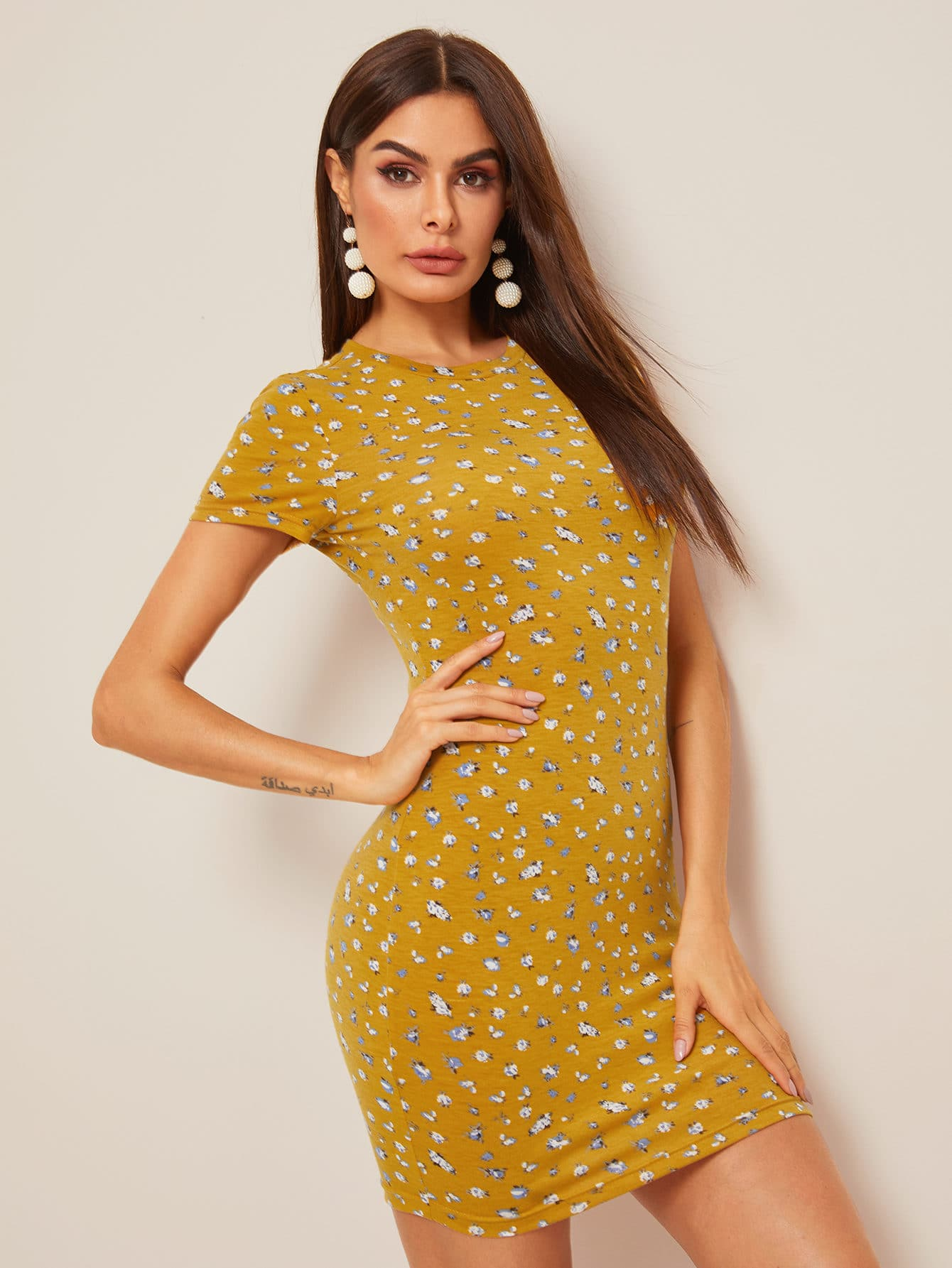 7ab1d1392399 Floral Print Bodycon Dress With Sleeves | Saddha