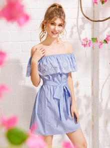 Embroidered Ruffle Striped Belted Bardot Dress
