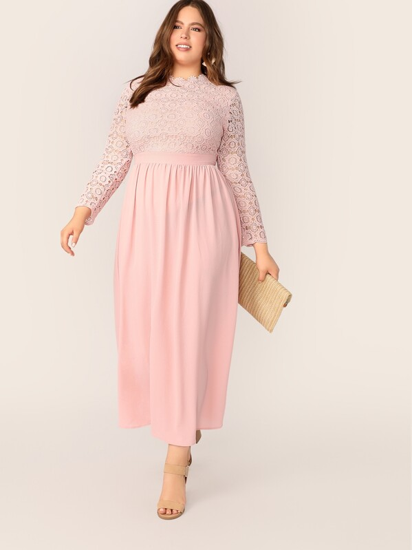 7ea0f40bd1 Plus Guipure Lace Bodice Fit and Flare Dress | SHEIN IN
