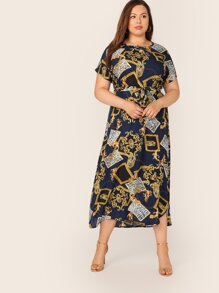 Plus Scarf Print Self Belted Dress