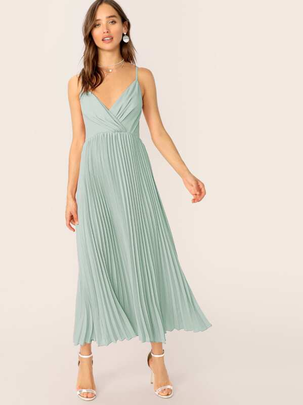 5e3bbcd2387c Surplice Neck Wrap Pleated Slip Dress | SHEIN UK