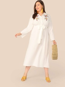 Plus Embroidery Print Belted Shirt Dress