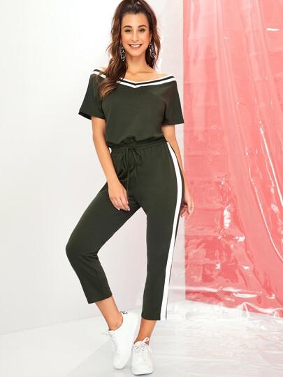 a423238f6f578a Crop Jumpsuit mit Streifen Muster, seitlichem Kordelzug und elastischer  Taille