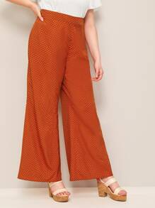 Plus Zipper Side Dot Palazzo Pants