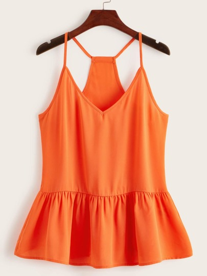 Neon Orange Racerback Peplum Top