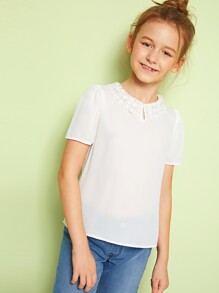 Girls Keyhole Front Contrast Lace Collar Top