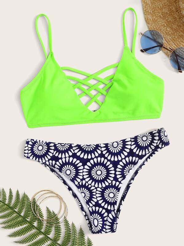 e86e4a94c8 Neon Green Lattice Top With Panty Bikini Set | SHEIN