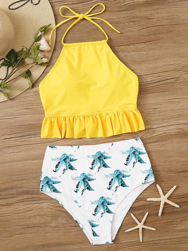 ed9c7715c5 Ruffle Hem Top With Leaf High Waist Bikini Set | SHEIN