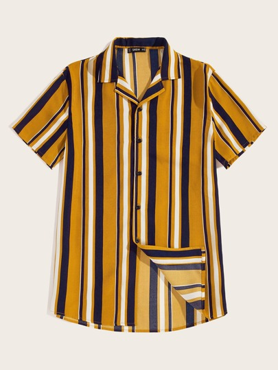 79629addc1 Guys Color-block Striped Curved Hem Shirt out