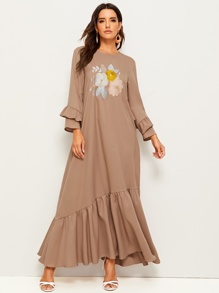 Ruffle Sleeve Flower Embroidered Flounce Hem Dress