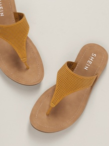 Perforated Slide On Toe Strap Sandals