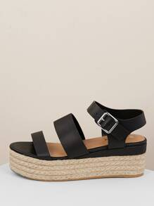 Multi Band Buckled Strap Jute Flatform Sandals