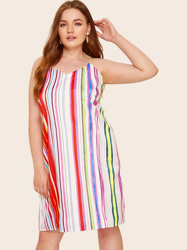 80ed677962 Plus Rainbow Striped Cami Dress   SHEIN