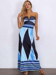 Joyfunear Color-block Split Thigh Maxi Tube Dress