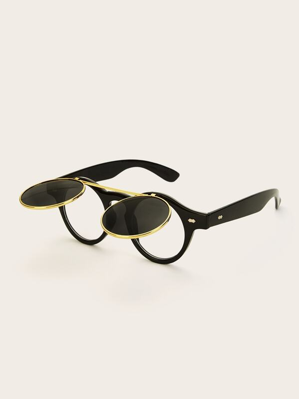 bef92efb37 Men Round Tinted Lens Detachable Sunglasses | SHEIN UK