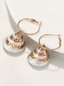 Shell Shaped Hoop Drop Earring 1pair