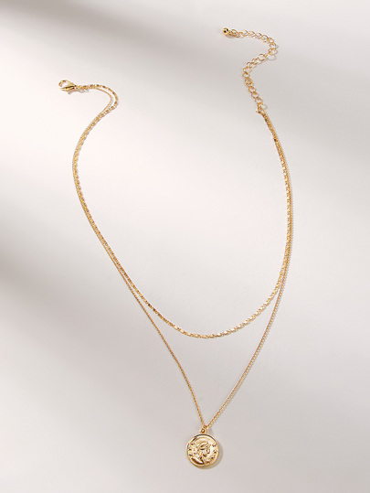 Coin Detail Double Layered Chain Pendant Necklace 1pc
