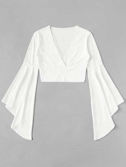 Flounce Sleeve Surplice Crop Top
