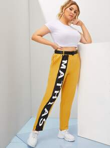 Plus Letter Print Belted Pants