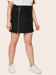 Plus Zip Up Solid Sheath Skirt