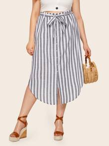 Plus Button Front Striped Belted Skirt