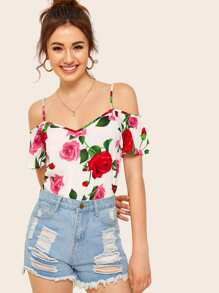 Large Floral Print Cold Shoulder Cami Blouse