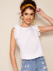 Frill Trim Solid Tee