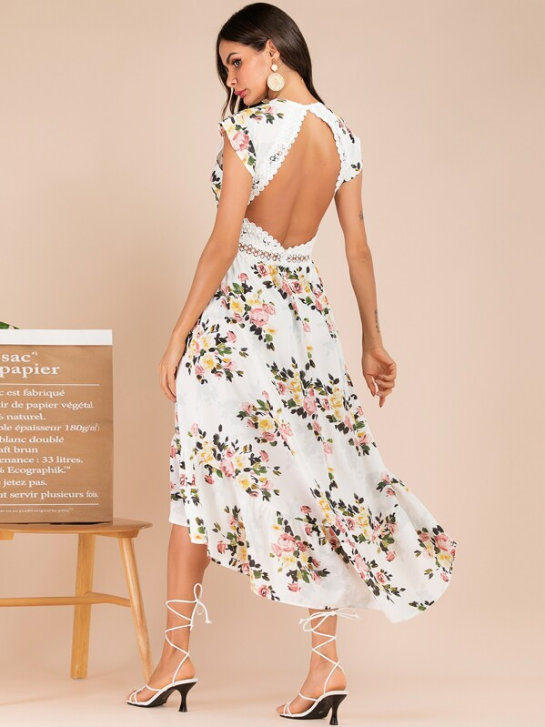 78508dbc8c Floral Print Contrast Lace Backless Dress | SHEIN