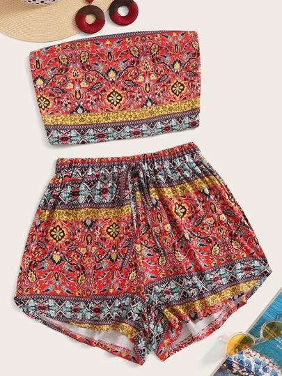 2c8d687376cc Aztec Print Bandeau Top With Drawstring Waist Shorts