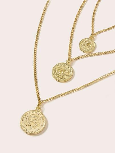 42fcaf23fb1f Collar de cadena colgante de 3 capas 1 pieza