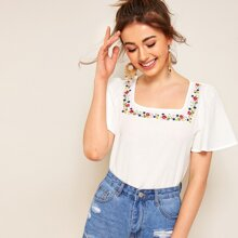 Image of Embroidered Floral Square Neck Blouse
