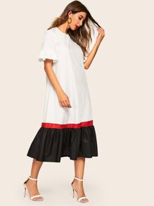 Bell Sleeve Flounce Hem Colorblock Dress With Belt