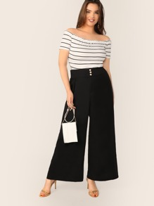 Plus Pearls Detail Wide Band Waist Culotte Pants