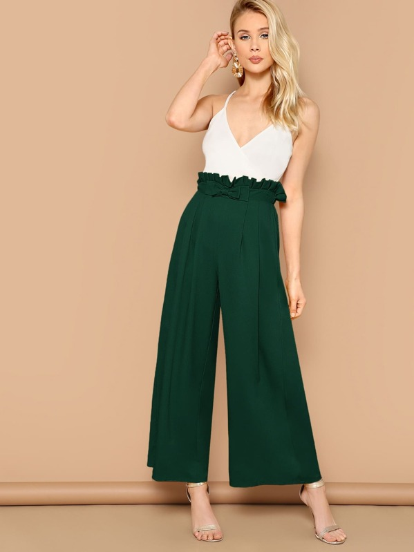 Shein Paperbag Waist Bow Front Wide Leg Pants by Sheinside