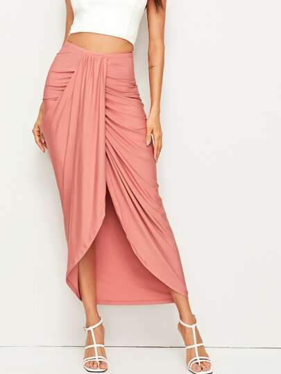 50bc9167dee0 High Waist Draped Skirt