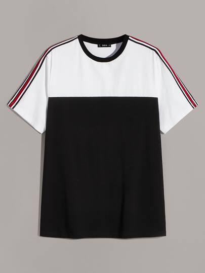 aebf941c4 Camiseta de hombres de dos colores con cinta de rayas