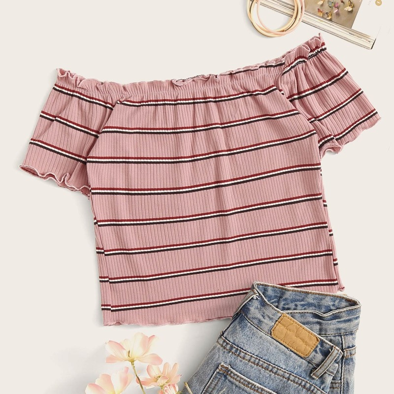 Rib-Knit Striped Lettuce Trim Crop Top, Pastel dusty pink
