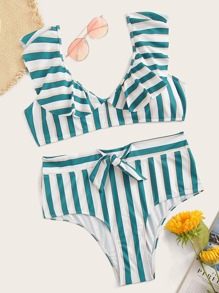 Plus Striped Ruffle Top With Tie Waist Bikini