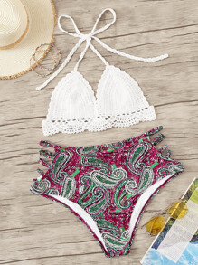 Plus Crochet Halter Top With Paisley Bikini