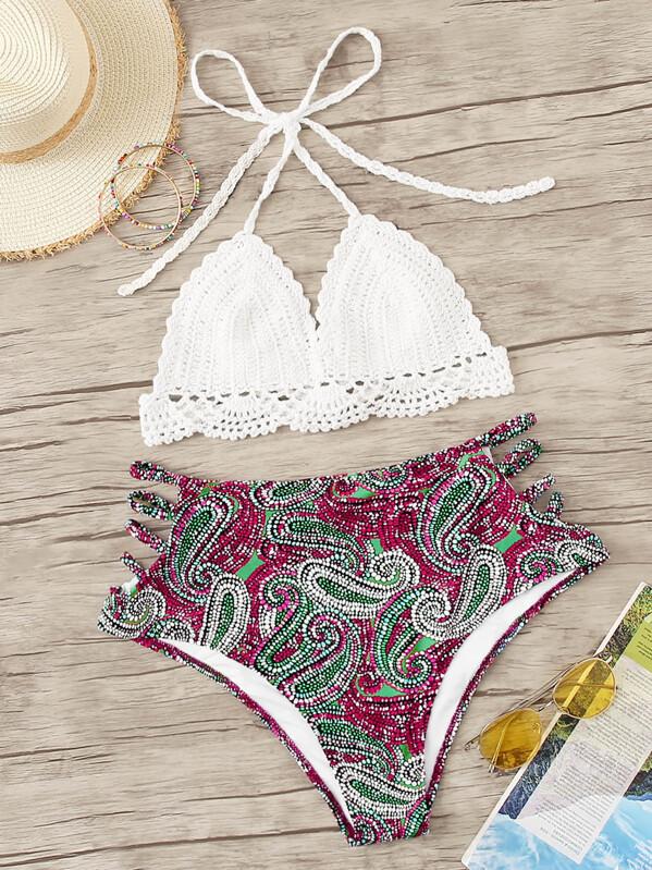 05a5c9f498 Plus Crochet Halter Top With Paisley Bikini | SHEIN
