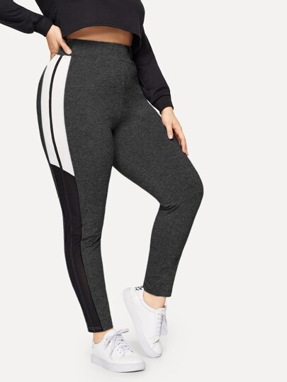 688c02e83df Plus Contrast Mesh Skinny Leggings
