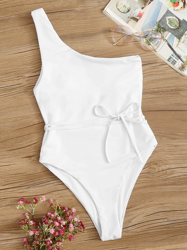 4457110c13 One Shoulder Belted One Piece Swimsuit | SHEIN