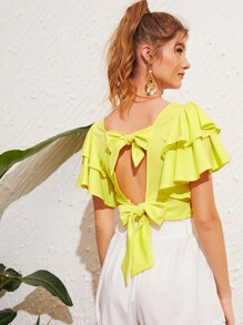 Neon Yellow Tie Back Ruffle Sleeve Blouse